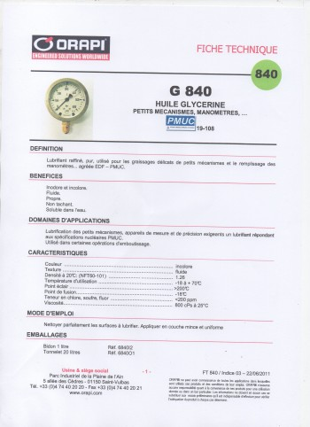 ORAPI G840  HUILE GLYCERINE PETITS MECANISMES, MANOMETRES (BIDON 1 LITRE)